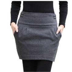 Winter Skirt 2015 Women Fashion Autumn Fall Brand Plus Size Slim Hip Zipper Closed Pocket Bud Short Thick Warm Wool Skirts Mode Outfits, Skirt Outfits, Casual Outfits, Fashion Outfits, Womens Fashion, Tutu En Tulle, Slim Hips, Winter Skirt, Winter Rok
