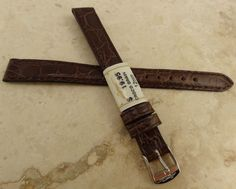 Zrc France Made Brown Crocodile 12Mm Long Watch Band Chrome Tone Buckle $19.95