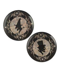 Halloween Silhouette Melamine Plate - Set of Two #zulily #zulilyfinds