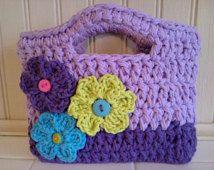 Toddler purse, little girl purse, purse, flower purse, purple purse, birthday gift, easter gift, christmas gift, crochet purse