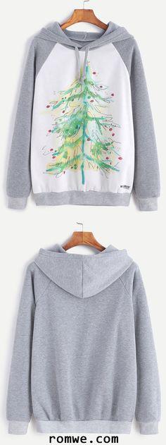Color Block Christmas Tree Print Hooded Sweatshirt