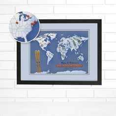 Customized Skiing and Snowboarding Map Art, Travel Push Pin Map. Visually display your worldly skiing or snowboarding travels on a background of beautiful map art. Pin maps are mounted on thick, sturdy foam core and framed for the ability to continuously add pins as your trips add up. Customized banner included. Please include names and date with order. NEW pin map option now available for this pin map. Please choose from either a map updated in 2016, or from a vintage map from the early...