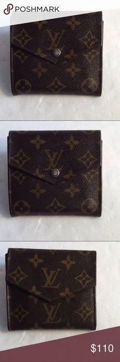 Authentic Louis Vuitton Monogram Elise Wallet. Leather showed signs of used and had some scratches in the money pocket. The canvas us good. The wallet was bade in France with a date code 854. The dimension is 4, 4 and 1. Louis Vuitton Accessories