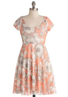 Daisy About You Dress - Mid-length, Orange, Brown, White, Floral, Backless, Casual, Empire, Short Sleeves, Spring, 90s, Coral, Scoop, Top Rated