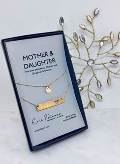 Mother Daughter Bar necklace set. Mothers Day Gifts and Birthday Gifts for Mom. The sweetest way to keep each other close.