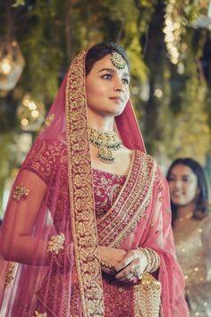 Alia Bhatt Becomes A Picture Perfect Bride As Manyavar Mohey Ropes Her In As Its Brand Ambassador - HungryBoo Bridal Lehenga, Lehenga Choli, Anarkali, Red Lehenga, Indian Wedding Outfits, Bridal Outfits, Indian Outfits, Indian Weddings, Dress Wedding