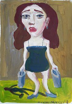 """""""Chica de ojos soñadores 2 """", gouache on paper , 24x 18 cm., year 1998"""
