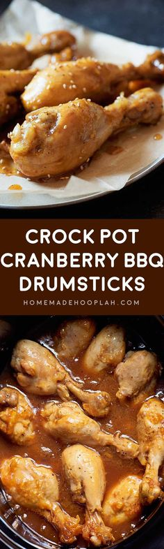 Crock Pot Cranberry BBQ Drumsticks! Chicken drumsticks slow cooked in a savory cranberry bbq sauce for the perfect weeknight dinner that has the best tastes from both summer and winter. | HomemadeHooplah.com