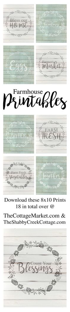 I have to tell you my friends…I am really excited about today's Farmhouse Free Printables (8 X 10)! We have so many Farmhouse Fans here at The Cottage Market…I know that the majority of you are going to love these! They were made with YOU in mind!  There is a collection of all Farmhouse …: