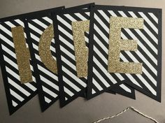 PartyGrams black, white, and gold glitter banner will make the perfect welcome…