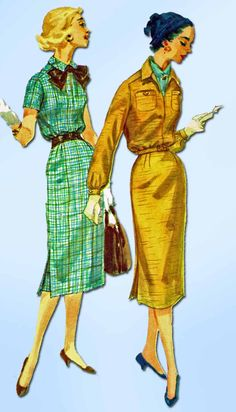 """Simplicity Pattern 1791 Misses Day Dress Pattern with Raglan Sleeves and Bow Tie Neckline Dated 1956 Factory Folded and Unused Counted. Verified. Guaranteed. Nice Condition Overall Size 12 (32"""" Bust)"""