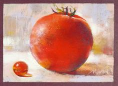 BARBARA BENEDETTI NEWTON: Marble and Tomato, pastel, 5 x 7 inches
