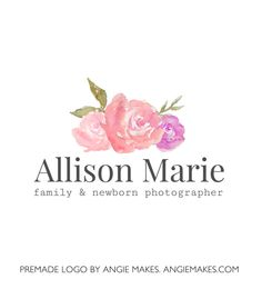 watercolor peony logo. premade logo by angie makes