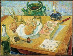 Vincent van Gogh, Still life with a plate of onions, beginning of January 1889, oil on canvas, January 1889, Coll. Kröller-Müller Museum, Otterlo