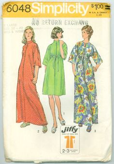 Simplicity 6048 - Misses' Stand Up Collar Robe in Two Lengths