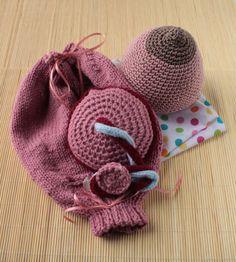 Midwife/Doula/OB-GYN Teaching Set, Crochet Breast, Uterus w/Caesarian Opening, Placenta, and Drawstring Bag, Ante-natal Teaching Set