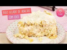 Bolo Gelado de Abacaxi Com Coco - Doces Gourmet Victor Hugo, Puddings, Manual, Pineapple Stuffing, No Churn Ice Cream, Cook, Delicious Recipes, Yummy Recipes, Meals