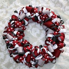 MSU Bulldogs Colors 12 Ribbon Wreath by GGsTeapot on Etsy, $25.00