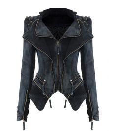 Amazon.com: Lookbookstore Sharp Studded Shoulder Lapel Denim Jeans Tuxedo Blazer Jacket: Clothing