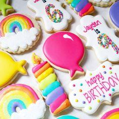 "416 Likes, 24 Comments - Margaret Rettig Nelson (@bluesugarcookieco) on Instagram: ""Rainbow Birthday Set  Plaque cutter from @creativecookier   #bluesugarcookieco…"""