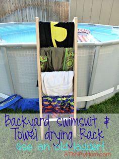 backyard towel drying rack, life hacks, swimming, swim, pool, ladder, backyard organization