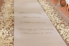 """""""You're my greatest adventure"""" ceremony aisle runner at Disney's Wedding Pavilion"""