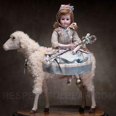 Rare Large antique automaton Girl on a sheep Antique dolls at Respectfulbear.com