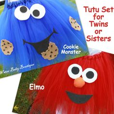 @Erica Murray Cookie Monster & Elmo Halloween Costume -Tutu Halter Dress Set -2 TUTU's for TWINS or SISTERS for baby, toddler, and girls. $78.00, via Etsy.