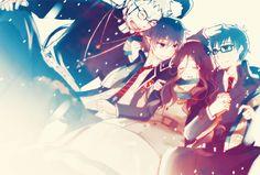 Anime: Ao No Exorcist (Blue Exorcist) Characters: Shiro Fujimoto, Okumura Rin, Yuri Eign, and Okumura Yukio Ao No Exorcist, Exorcist Movie, Blue Exorcist Anime, Rin Okumura, Mephisto, Shiro, Satan, Blue Exorcist Characters, Anime Tumblr