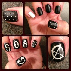 sons of anarchy nails!  @Rachel Martinez, dare me to do my nails like this for next National?