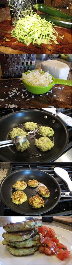 Ingredients: Zucchini Fritters Ingredients 1 cup grated zucchini ? cup onion, finely chopped ¼ cup mozzarella cheese, shredded ¼ cup parmesan cheese, shredded ? cu