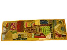 Patchwork Yellow Table Runner Vinatge Sari Sequin Embroidery Wall Hanging #Mogul interior @ http://www.amazon.com/dp/B00L7SFYFK