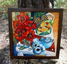 """Gallery.ru / """"Натюрморт с маками"""", стекло 40*40 см. + багет - Картины - enehi"""