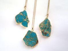 Sea Sediment Jasper Necklace Blue Turquoise Stone by SinusFinnicus