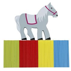 Balance Beam Wooden Horse w/ Multicolor Sticks Children Kids' Educational Toy ** Details can be found by clicking on the image.