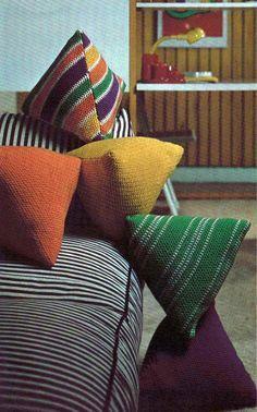Vintage Crochet Pattern Giant Pillow Ball Pouf Floor Cushion Granny Square…