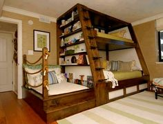 Awesome Space Saving Kids Bedroom Design Featuring Perfect Wooden Bunk Beds With Unique Black Metal Stairs And Bookshelves On The Left Side, Best Of Coolest Modern Kid Beds: Bedroom, Furniture, Interior, Kids Room Cool Bunk Beds, Kids Bunk Beds, Unique Bunk Beds, Kids Beds Diy, Cool Kids Beds, Custom Bunk Beds, Bunk Bed Designs, Bedroom Designs, Bedroom Styles