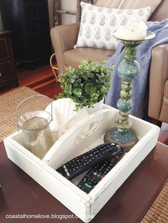 A Crafty Little Solution for those Dreaded Remote Controls…. A Coffee Table Ca… A Crafty Little Solution for those Dreaded Remote Controls…. A Coffee Table Caddy! Diy Apartment Decor, Diy Home Decor, Table Caddy, Remote Control Holder, Garden Coffee Table, Smart Tiles, Small Room Bedroom, Decorating Coffee Tables, Living Room Inspiration