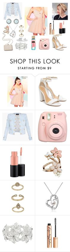 """princess"" by asoles2011 ❤ liked on Polyvore featuring Lipsy, Schutz, Kayu, Balmain, Fujifilm, MAC Cosmetics, Accessorize, Topshop, M&Co and Charlotte Tilbury"