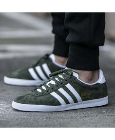 best cheap 030de 3cfc6 Adidas Gazelle Mens Shoes In Olive Green White Gold Trainers, Green  Trainers, Mens Trainers