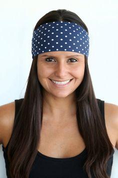Navy Polka Dot Print  Fitness headband  Yoga by TheSavvyCoconut, $4.00