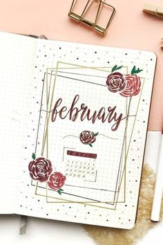 Bullet Journal Monthly Cover Ideas for February 2019 - bullet cover februar . - More at rot. - Edna BallanceBullet Journal Monthly Cover Ideas for February 2019 - bullet cover februar . Bullet Journal Inspo, February Bullet Journal, Bullet Journal Cover Ideas, Bullet Journal 2020, Bullet Journal Notebook, Bullet Journal Aesthetic, Bullet Journal Themes, Bullet Journal Layout, Journal Covers