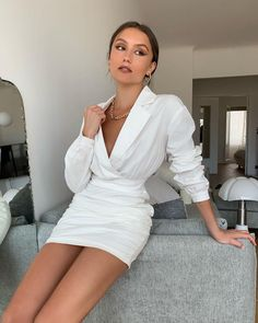 There is 1 tip to buy dress. Blouse Dress, Coat Dress, Buy Dress, Jacket Dress, All White Party Outfits, All White Outfit, White Dress, Chubby, Dress Outfits