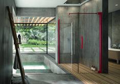 PALME® Aprejo Curve Dusche in rubinrot für das gewisse Etwas. Divider, Room, Design, Furniture, Home Decor, Houses, Shower Cabin, Showers, Bath Room