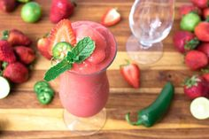 A pitcher of our Strawberry Jalapeno Lime Daiquiri is frosty and amazing, the perfect refreshment. I love strawberry daiquiris and they always turn out better when I use fresh strawberries. Easy Pina Colada Recipe, Strawberry Daiquiri Recipe, Strawberry Slice, Frozen Daiquiri, Daiquiri Cocktail, Fruity Cocktails, Summer Cocktails, Frozen Strawberries, Other Recipes