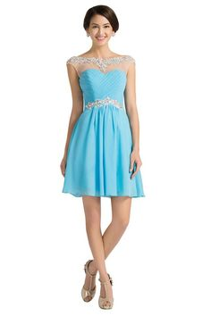 This glamorous full-length chiffon formal gown will absolutely make you to be the queen at prom night. The illusion, scoop bodice and sheer strap are fully beaded with heat-set rhinestones and crystal Cheap Short Prom Dresses, Prom Dresses Blue, Prom Party Dresses, Ball Dresses, Homecoming Dresses, Evening Dresses, Homecoming Ideas, Grad Dresses, Bridesmaid Dresses