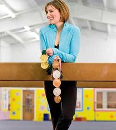 Shannon Miller. 7 Olympic medals in gymnastics. 5 in 1992 and two gold in 1996. ROCK ON!  She's also an Ovarian Cancer Survivor!