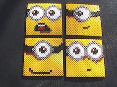 Perler Bead Minion Coasters - Set of 4 | Crafts, Handcrafted & Finished Pieces, Home Décor & Accents | eBay!