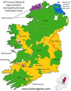 Map of Ireland - Map of Ireland - Century Ethnicity Map showing the principal Gallowglass Clans, MacAlister, upper right. European History, Uk History, Family History, Ireland Map, Geography Map, Irish Warrior, Historical Maps, 16th Century, Ancestry