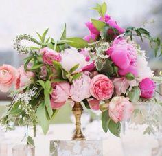 Beautiful Vibrant Pink Wedding Floral arrangement Centerpiece with Peonies, Ranunculus and Roses Wedding Flower Arrangements, Wedding Bouquets, Floral Arrangements, Flower Bouquets, Floral Wedding, Wedding Flowers, Trendy Wedding, Pink Centerpieces, Peonies Centerpiece